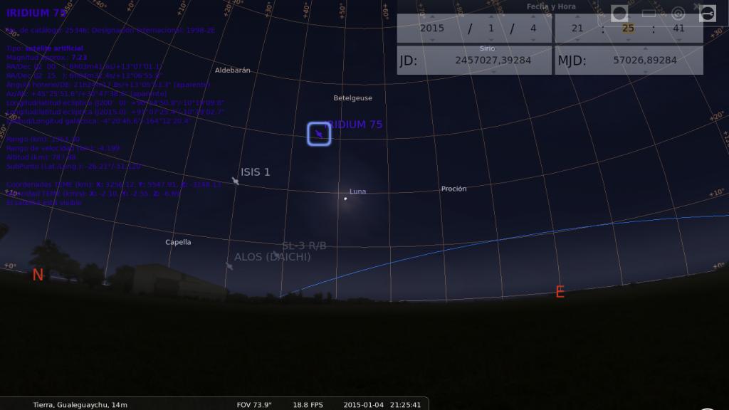 Captura del software Stellarium donde se el paso del satélite Iridium 75 y otros objetos artificiales en órbita.