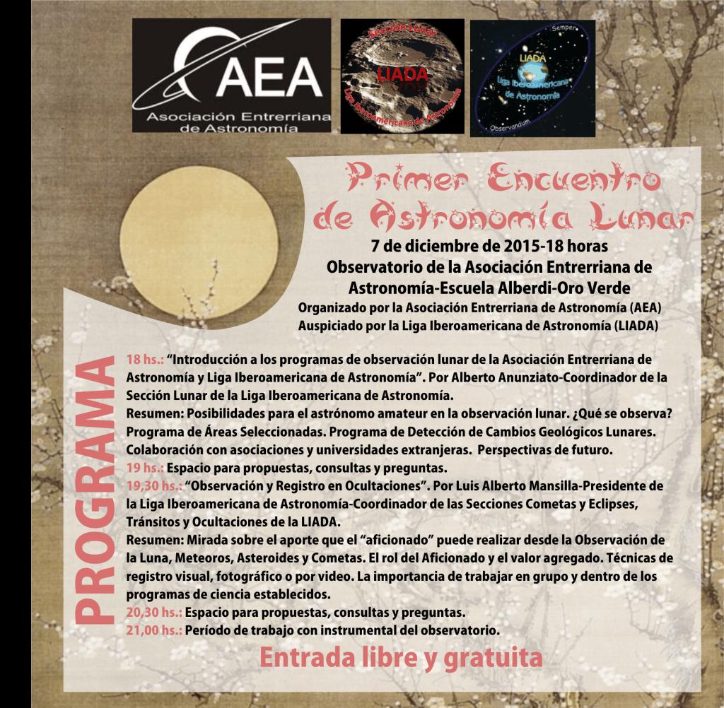 PROGRAMA I ENCUENTRO DE ASTRONOMIA LUNAR